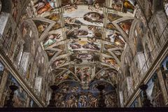 Interior and architectural details of the Sistine chapel. VATICAN CITY, ROME - APRIL 04, 2017: Interior and architectural details of the Sistine chapel, March 02 Stock Photo