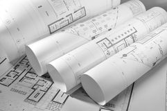 Interior and architectural drawing. Plan black and white royalty free stock images