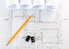 Interior and architectural drawing Stock Images