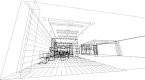 Interior Architecture abstract, 3d illustration, building structure commercial building design Stock Photo