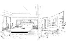 Interior architecture construction landscape sketc Royalty Free Stock Photos