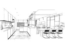 Interior architecture construction landscape sketc Royalty Free Stock Photography