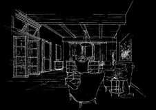 Interior architecture construction landscape sketc Stock Images