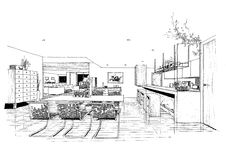 Interior architecture construction landscape sketc Royalty Free Stock Images