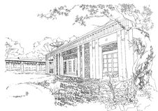 Interior architecture construction landscape sketch Stock Photos