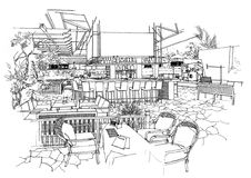 Interior architecture construction landscape sketch Royalty Free Stock Photography