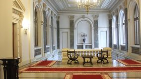 Interior architecture at National Bank of Romania stock footage