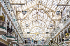 Interior architecture of St Stephen`s shopping centre in Dublin. DUBLIN, IRELAND - 10th June, 2017: the beautiful interior architecture of St Stephen`s shopping Stock Images