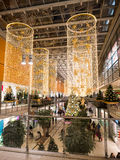 The interior of the Arkaden shopping mall. BERLIN, GERMANY - JANUARY 2 2016: The interior of the Arkaden shopping mall with christmas decoration and people Stock Image