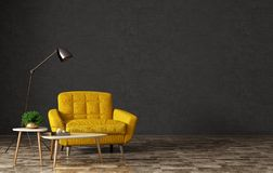 Interior with armchair and coffee tables 3d rendering stock photography