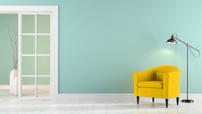 Interior with armchair, lamp and vases Stock Photography