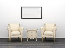 Interior with armchairs and bedside table. Stock Images