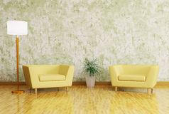 Interior with armchairs and floor lamp Royalty Free Stock Photos