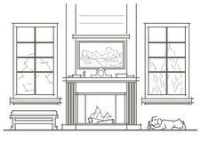 Interior arquitetónico da sala de visitas do esboço com opinião dianteira da chaminé Foto de Stock Royalty Free