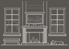 Interior arquitetónico da sala de visitas do esboço com opinião dianteira da chaminé no fundo cinzento Foto de Stock Royalty Free