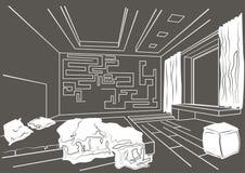 Interior arquitetónico do esboço do quarto moderno no fundo cinzento Imagem de Stock Royalty Free