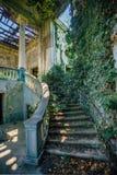 Interior arruinado da mansão coberto de vegetação pelas plantas cobertos de vegetação pela escadaria espiral e pela coluna da her imagem de stock