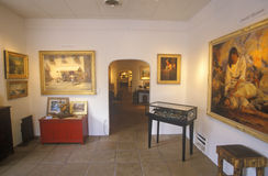 Interior of Art Gallery in Santa Fe, NM stock photos