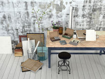 Interior of an artist or designer studio Stock Images