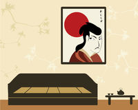 Interior in asian style with samurai Stock Image