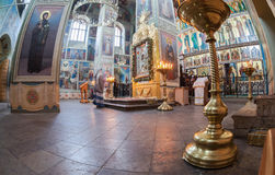 Interior of the Assumption Cathedral in Iversky Monastery Stock Image