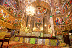 Interior the сathedral with magical paints Stock Images