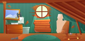 The interior of the attic. An old forgotten room with boxes on the roof. Lamp and pictures and stairs to the top. royalty free stock photography