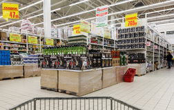 Interior of Auchan Samara Store in shopping center Mega. French Royalty Free Stock Images