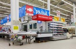 Interior of Auchan Samara Store in shopping center Mega. French Stock Photos