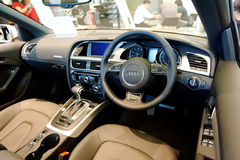 Interior of Audi A5 cabriolet at Audi Centre Singapore Royalty Free Stock Photography