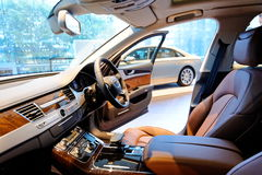 Interior of Audi A8 at Audi Centre Singapore Royalty Free Stock Photos