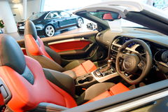Interior of Audi S5 cabriolet at Audi Centre Singapore Royalty Free Stock Images