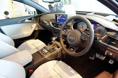 Interior of Audi S6 at Audi Centre Singapore Royalty Free Stock Images