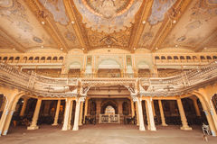 Interior of Audience Hall with artworks of the royal Palace of Mysore, built in 1912 in Karnataka Royalty Free Stock Photography
