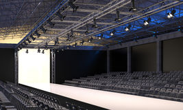 Interior of the auditorium with empty podium for fashion shows. Fashion runway before beginning of fashionable display. 3D visuali Royalty Free Stock Image