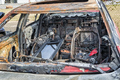 Interior of Automobile After Car Fire Royalty Free Stock Images