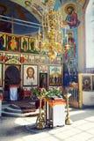 Interior av den ryska ortodoxkyrkan Fotografering för Bildbyråer