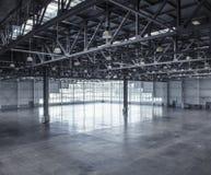 Interior av ett tomt lager Royaltyfria Foton