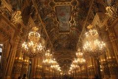 Interior av operan Garnier i Paris 免版税库存图片