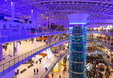 Interior of Aviapark shopping mall in Moscow Stock Images