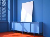 Interior azul con el piso rojo y la lona en blanco Imagenes de archivo