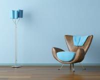 Interior azul con el sofá y la lámpara Foto de archivo libre de regalías