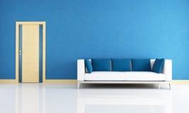 Interior azul con la puerta de madera libre illustration