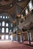 Interior azul da mesquita fotografia de stock