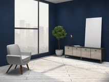 Interior azul da sala de visitas ilustração royalty free