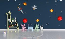 Interior azul de la habitación del niño para la maqueta, representación 3D stock de ilustración