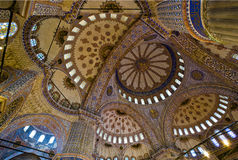 Interior azul de la mezquita Fotografía de archivo libre de regalías