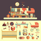 Interior of baby room and toys set for kids Royalty Free Stock Photography