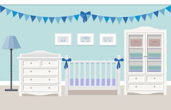 Interior of baby room. Vector illustration. Baby room interior for boy with white furniture in flat style. Modern blue nursery design. Vector illustration Stock Photos