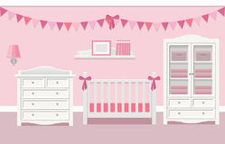 Interior of baby room. Vector illustration. Baby room interior for girl with white furniture in flat style. Modern pink nursery design. Vector illustration Royalty Free Stock Photography